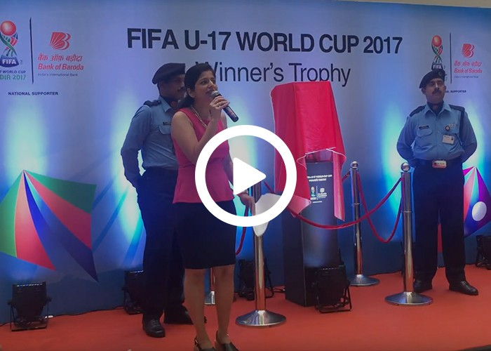 Anchor Dhwani Karia hosting an event for FIFA WORLDCUP