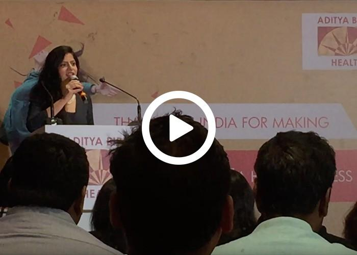 Anchor Dhwani Karia hosting a Conference for Aditya Birla Health