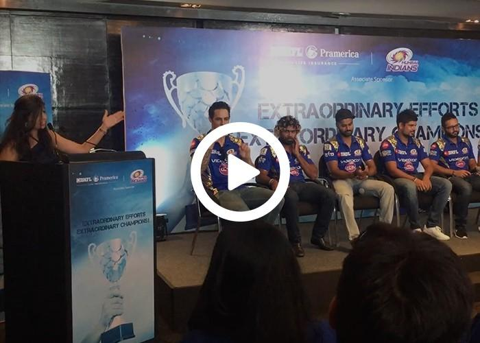 Emcee Dhwani Karia hosting a Meet & Greet Event for Mumbai Indians Team