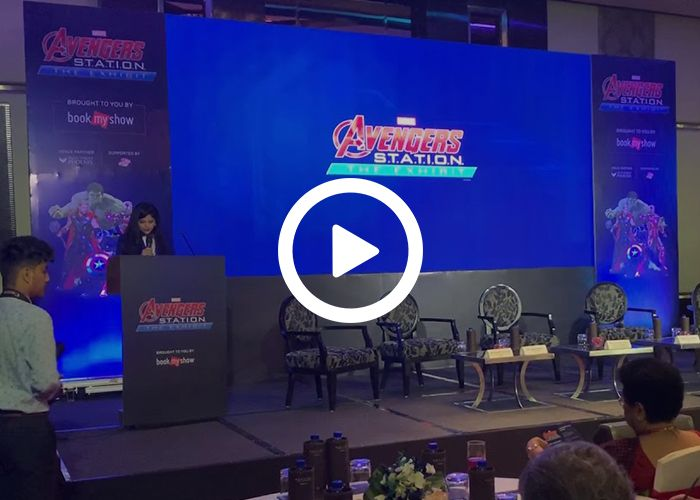 Anchor Dhwani Karia hosting an event for AVENGERS