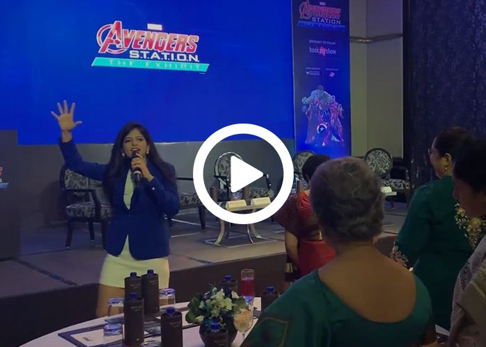 Anchor Dhwani Karia hosting an event for AVENGERS (Interaction with Audience)